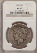 Peace Dollars: , 1928 $1 VG10 NGC. NGC Census: (2/4709). PCGS Population (3/7156).Mintage: 360,649. Numismedia Wsl. Price for problem free ...
