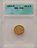 1854-O $2 1/2 Fine 12 ICG. NGC Census: (0/447). PCGS Population (0/230). Mintage: 153,000. Numismedia Wsl. Price for pro...