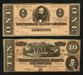 Confederate Notes:1864 Issues, T68 $10 1864. T71 $1 1864.. ... (Total: 2 notes)