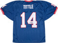 Football Collectibles:Uniforms, Y.A. Tittle Signed Giants Jersey With Inscription....