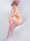 Pin-up and Glamour Art, MAHER MARCOS (Egyptian, b. 1952). Seated Nude, 1987. Oil oncanvas. 24 x 18 in.. Signed and dated lower right. ...