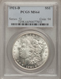 Morgan Dollars: , 1921-D $1 MS64 PCGS. PCGS Population (4163/1554). NGC Census:(4781/1966). Mintage: 20,345,000. Numismedia Wsl. Price for p...