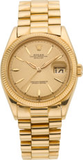 Timepieces:Wristwatch, Rolex Ref. 1601 Gent's Gold Oyster Perpetual Datejust, circa 1958. ...