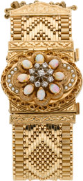 Timepieces:Wristwatch, Swiss Convertible Brooch Or Bracelet Watch With Gemstones, circa 1940's. ...