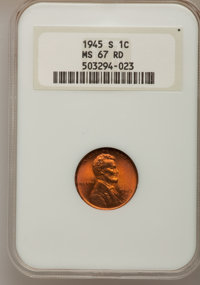 1945-S 1C MS67 Red NGC. NGC Census: (1064/0). PCGS Population (684/0). Mintage: 181,770,000. Numismedia Wsl. Price for p...