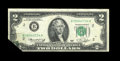 Error Notes:Foldovers, Fr. 1935-B $2 1976 Federal Reserve Note. Very Fine.. Thisinteresting foldover has affected all three printings on thisdeuc...