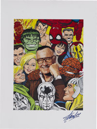Stan Lee With Marvel Heroes Portrait Poster (undated)