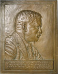 U.S. Presidents & Statesmen: , Large Theodore Roosevelt Copper Plaque. Designed by James EarlFraser, the designer of the Buffalo nickel. Dated 1920. 10 x ...