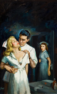 JULIAN PAUL (American, 20th Century) Hospital Doctor, paperback cover, 1952 Oil on board 30 x 22