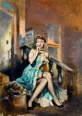 Pulp, Pulp-like, Digests, and Paperback Art, CHARLES BINGER (American, 20th century). Murder Won't Out,paperback cover, 1953. Oil on board. 37 x 27 in.. Signedlowe...