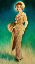Pin-up and Glamour Art, JON WHITCOMB (American, 1906-1988). The Golden Gown, 1965.Oil on canvas. 66 x 36 in.. Signed and dated lower left. ...