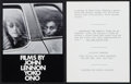 """Movie Posters:Documentary, Films by John Lennon and Yoko Ono (John Lennon and Yoko Ono, 1972). Heralds (2) (4.5"""" x 6""""). Documentary.. ... (Total: 2 Items)"""
