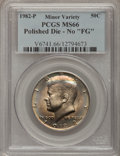 "Errors, 1982-P 50C Polished Die-No ""FG"" MS66 PCGS. PCGS Population (154/7). NGC Census: (36/3). Mintage: 10,819,000. Numismedia Wsl..."