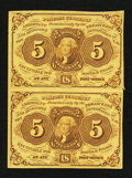 Fractional Currency:First Issue, Fr. 1230 5¢ First Issue Vertical Pair Extremely Fine-About New.. ...