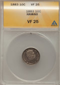 Coins of Hawaii: , 1883 10C Hawaii Ten Cents VF25 ANACS. NGC Census: (6/282). PCGSPopulation (31/473). Mintage: 250,000. (#10979)...