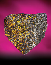 SPECTACULAR COMPLETE SLICE OF A METEORITE WITH NATURAL GEMSTONES - FROM THE HIGHEST DESERT ON EARTH AND THE BRITISH MUSE...
