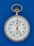 Timepieces:Pocket (post 1900), Swiss 16 Size, Fancy Dial Silver Chronograph. ...