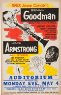 Music Memorabilia:Posters, Benny Goodman/Louis Armstrong Rochester Concert Poster (AssociatedBooking Corp., 1953)....