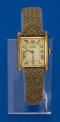 Timepieces:Wristwatch, Cartier Gold Plate On Sterling Tank Wristwatch. ...