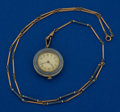 Timepieces:Watch Chains & Fobs, Longines 14k Gold & Enamel, 26 mm Pendant Watch With Chain. ...