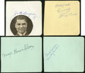 Boxing Collectibles:Autographs, Jack Dempsey, Max Baer, Maxie Rosenbloom and Mickey Walker SignedAlbum Sheets Lot of 4....