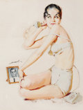 Pin-up and Glamour Art, MAURO SCALI (American, 1926-1988). Pin-Up on the Phone.Gouache on board. 14.25 x 11 in. (window). Signed middle left. ...
