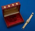 Timepieces:Pocket (post 1900), Gruen 14k Gold Wristwatch Metal Band Original Box. ...