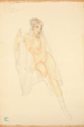 Pin-up and Glamour Art, ALBERTO VARGAS (American, 1896-1982). Let It Rain, April1970. Pencil and watercolor on paper. 30 x 20 in.. Artist's sta...
