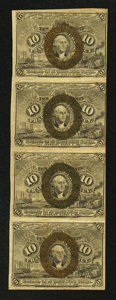 Fractional Currency:Second Issue, Fr. 1245 10¢ Second Issue Vertical Strip of Four Fine.. ...