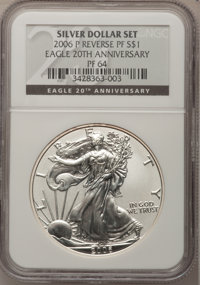 2006-P $1 Reverse Proof Silver Eagle, 20th Anniversary PR64 NGC. NGC Census: (0/0). PCGS Population (1/14031). Numismedi...