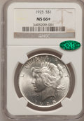 Peace Dollars, 1925 $1 MS66+ NGC. CAC. NGC Census: (1279/57). PCGS Population(1452/72). Mintage: 10,198,000. Numismedia Wsl. Price for pr...
