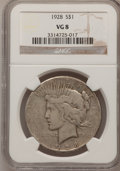Peace Dollars: , 1928 $1 VG8 NGC. NGC Census: (3/4711). PCGS Population (1/7171).Mintage: 360,649. Numismedia Wsl. Price for problem free N...