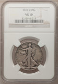 Walking Liberty Half Dollars: , 1921-D 50C VG10 NGC. NGC Census: (56/324). PCGS Population(162/546). Mintage: 208,000. Numismedia Wsl. Price for problem f...