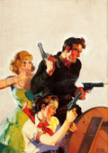 Pulp, Pulp-like, Digests, and Paperback Art, EMERY CLARKE (American, d. 1990). Cowboy with Two Women, ActionStories pulp cover, August 1935. Oil on canvas. 31 x 22 ...