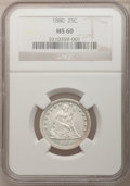 Seated Quarters: , 1880 25C MS60 NGC. NGC Census: (1/104). PCGS Population (0/173).Mintage: 13,600. Numismedia Wsl. Price for problem free NG...