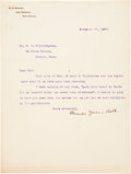 """Autographs:Inventors, Alexander Graham Bell Typed Letter Signed. One page, 8"""" x 10.5"""",Nova Scotia, November 27, 1907, on letterhead reading """"Be...(Total: 3 Items)"""
