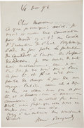 "Autographs:Inventors, Henri Becquerel Autograph Letter Signed. One page, 4.75"" x 7.25"",n.p., November 14, 1896. The French physicist, most noted ..."