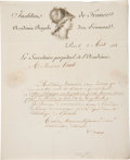 """Autographs:Inventors, Joseph Fourier Letter Signed """"Fourier."""" One page, 7.75"""" x9.5"""", Paris, August 9, 1824, on letterhead of the Institute of..."""