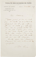 "Autographs:Inventors, Marie Curie Autograph Letter Signed ""M. Curie."" One page,5.25"" x 8.5"", Paris, October 31, 1917, in French on letter..."