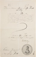 "Autographs:Inventors, Max Planck Document Signed. One partly-printed page, 8.25"" x 13"", July 22, 1914. Planck has signed as the rector at the Univ..."
