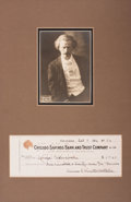 Autographs:Celebrities, Ignace Paderewski Photograph Signed and Check Signed.... (Total: 2Items)
