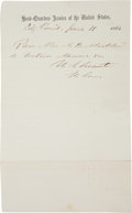 "Autographs:U.S. Presidents, Ulysses S. Grant Military Pass Signed ""U. S. Grant / Lt. Gen."" One page, 5"" x 8"", City Point [Virginia], June 19, 18..."