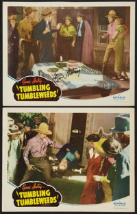 """Tumbling Tumbleweeds (Republic, R-1940s). Autographed Lobby Cards (2) (11"""" X 14""""). Western. ... (Total: 2 Item..."""