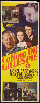 "Calling Dr. Gillespie (MGM, 1942). Insert (14"" X 36""). Drama"