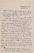 "Autographs:Authors, Margaret Mitchell Autograph Letter Signed ""Peggy."" Two pages, 7"" x 11"", Atlanta, Georgia, December 1, 1935. While writin..."