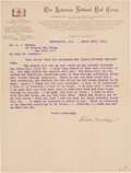 "Autographs:Celebrities, Clara Barton Typed Letter Signed ""Clara Barton""...."