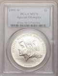 Modern Issues: , 1995-W $1 Special Olympics Silver Dollar MS70 PCGS. PCGS Population(44). NGC Census: (172). Numismedia Wsl. Price for pro...