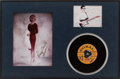 "Music Memorabilia:Memorabilia, Buddy Holly Related ""Peggy Sue"" Record and Autograph Display (Coral61885, 1957)...."