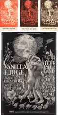 Music Memorabilia:Posters, Vanilla Fudge/Steve Miller Band Fillmore/Winterland Concert Posterand Ticket Group BG-101 (Bill Graham, 1968).... (Total: 4 Items)