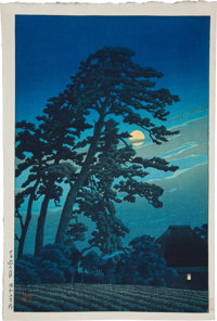 [Japanese Full-Color Print]. Scene of Tree and Field at Night. [N.p., n.d., ca. 1900]. Approximately 15.25 x 10.25 in